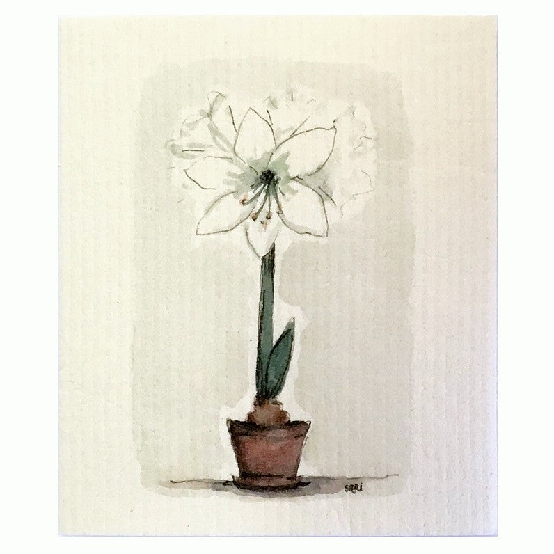 More Joy White Amaryllis Swedish Cloth | Putti Fine Furnishings
