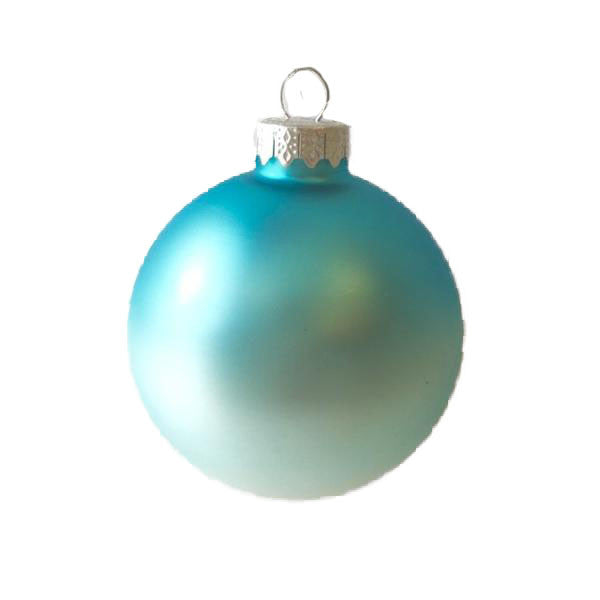 Aqua Ombre Matte Satin Glass Ornament - Ball