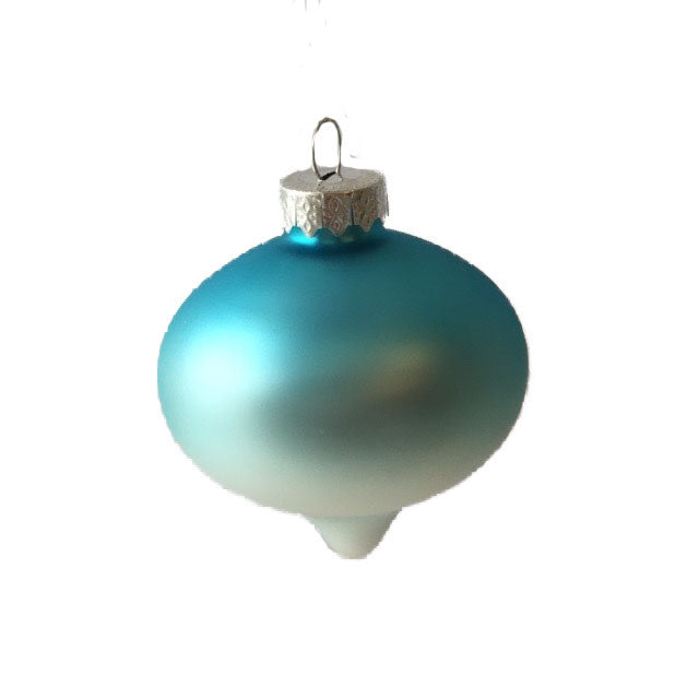 Aqua Ombre Matte Satin Glass Ornament - Onion