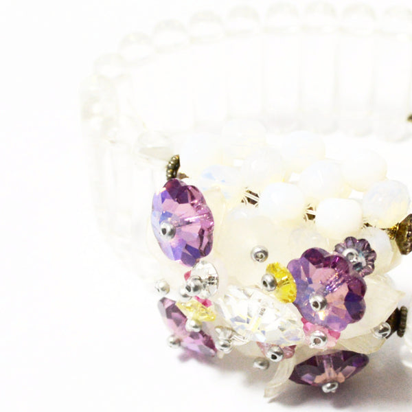 Clear Glass Bead Bracelet with Crystal Flower Box-Jewelry-Rita D-Putti Fine Furnishings