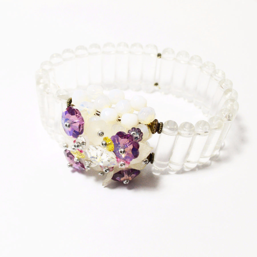Clear Glass Bead Bracelet with Crystal Flower Box