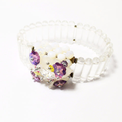 Clear Glass Bead Bracelet with Crystal Flower Box -  Jewelry - Rita D - Putti Fine Furnishings Toronto Canada - 1