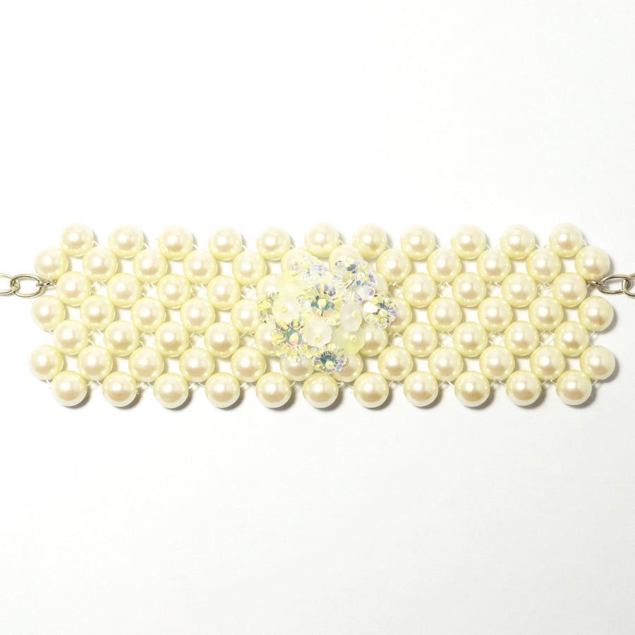 Rita D - Woven Cream Glass Pearl Bracelet Cuff, Rita D, Putti Fine Furnishings