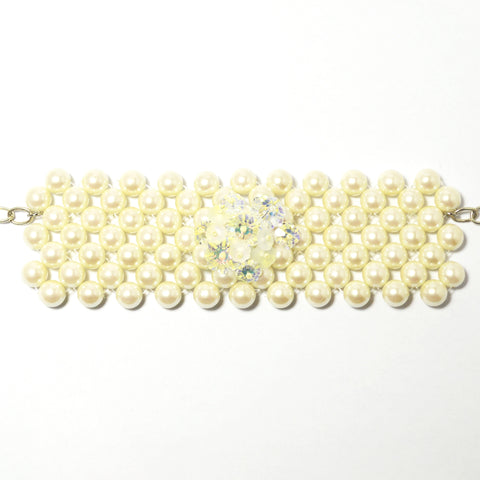 Rita D - Woven Cream Glass Pearl Bracelet Cuff -  Jewelry - Rita D - Putti Fine Furnishings Toronto Canada - 1