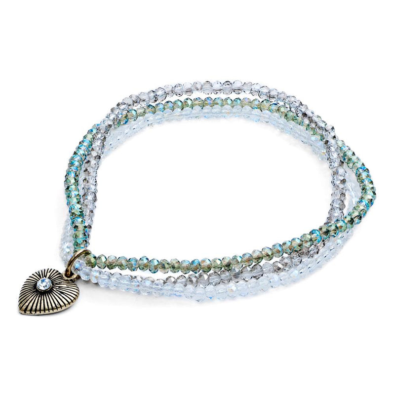 Lovett & Co. Triple Row Sparkle Bead Bracelet - Pacific Opal