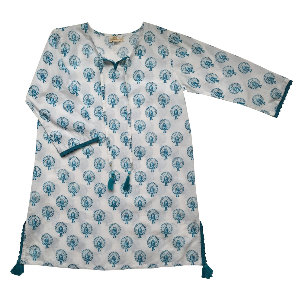 """Capri"" Split Side Aqua Blue Peacock Kaftan"