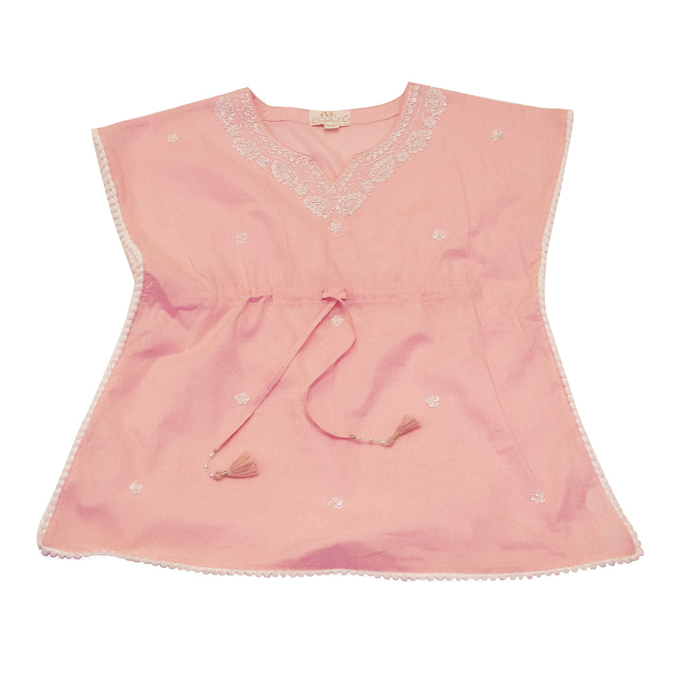 """Goa"" Pink Pom Pom Square Beaded Top"
