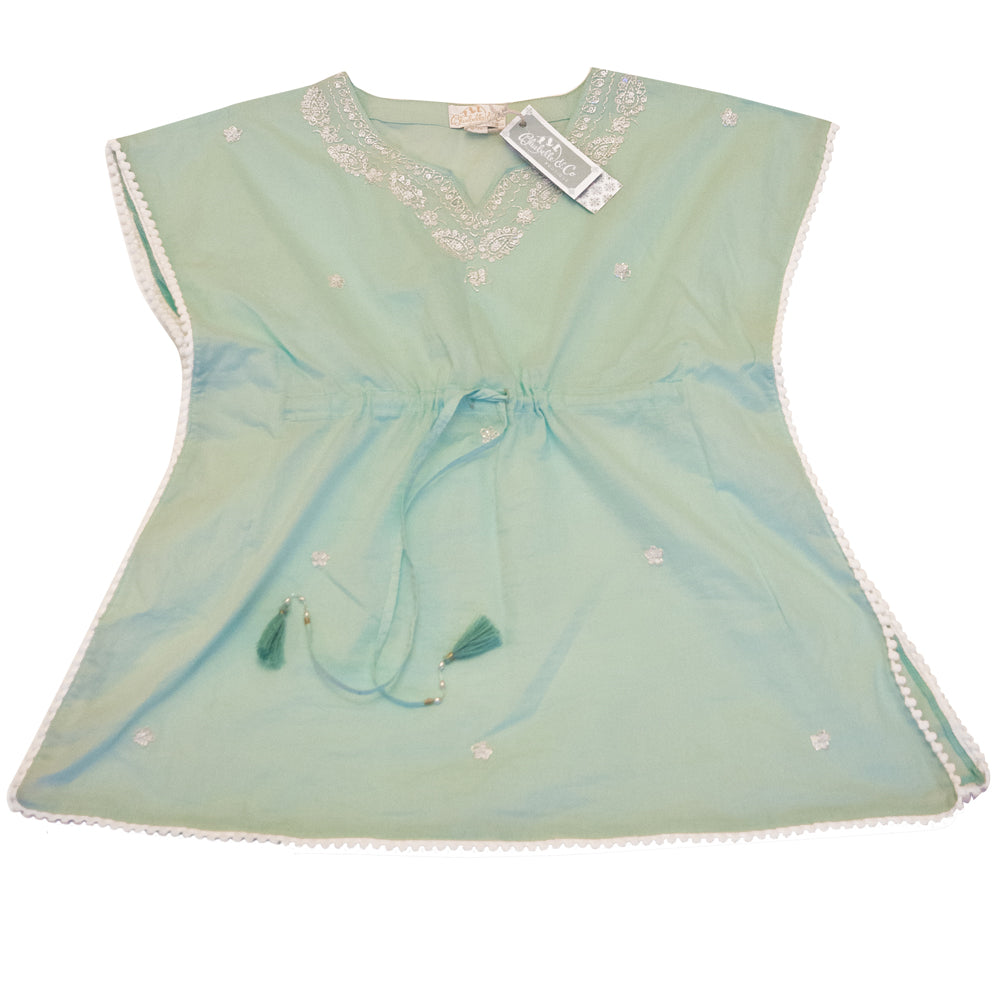 """Goa"" Mint Green Pom Pom Square Beaded Top"