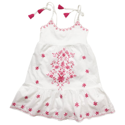 Ibiza White Strapy Dress with Hot Pink Embroidery, PC-Powell Craft Uk, Putti Fine Furnishings