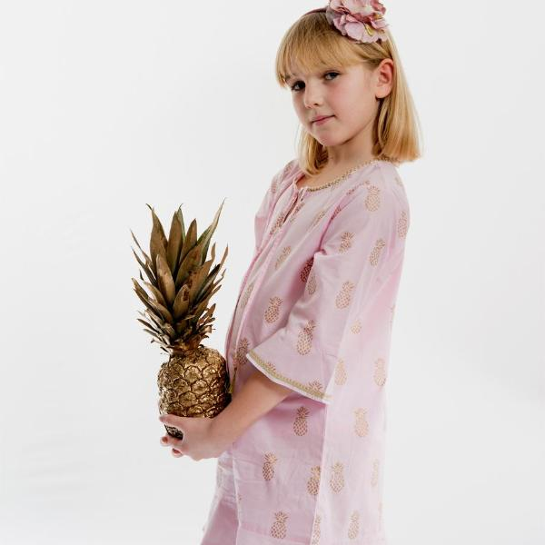 """Marrakesh"" Gold Pineapple Block Print Pink Dress"
