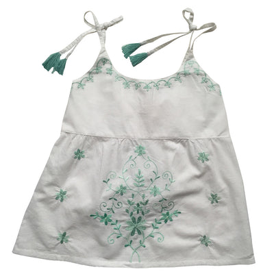 Palma White Embroidered Top with Tassel Straps, PC-Powell Craft Uk, Putti Fine Furnishings