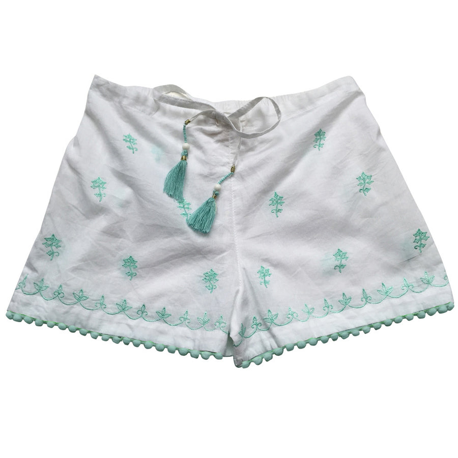 Cadiz White Embroidered Shorts, PC-Powell Craft Uk, Putti Fine Furnishings