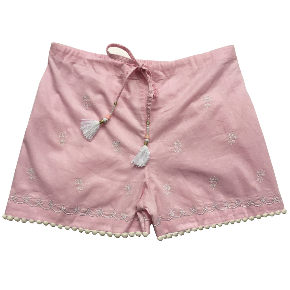 Cadiz Pink Embroidered Pom Pom Shorts
