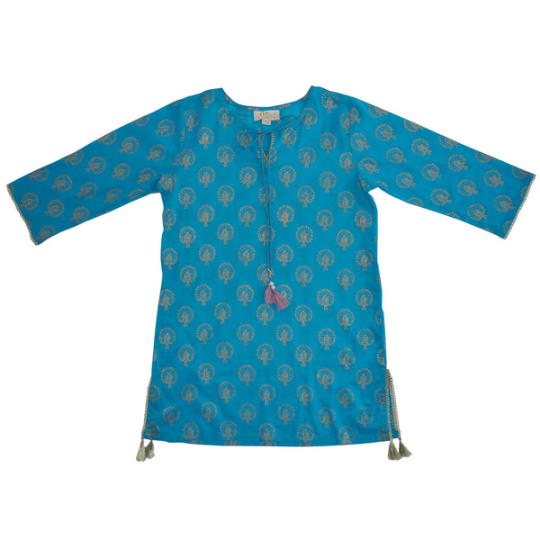 Turquoise Kaftan with Gold Peacock Print