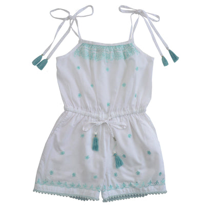 White Play Suit with Mint Embroidery