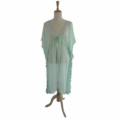 St Tropez Chiffon Pom Pom Coverup - Mint Green, PC-Powell Craft Uk, Putti Fine Furnishings