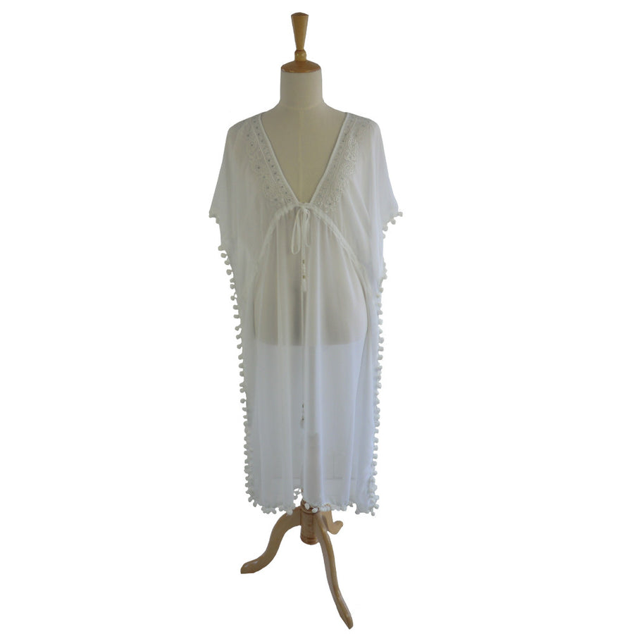 St Tropez Chiffon Pom Pom Coverup - White, PC-Powell Craft Uk, Putti Fine Furnishings