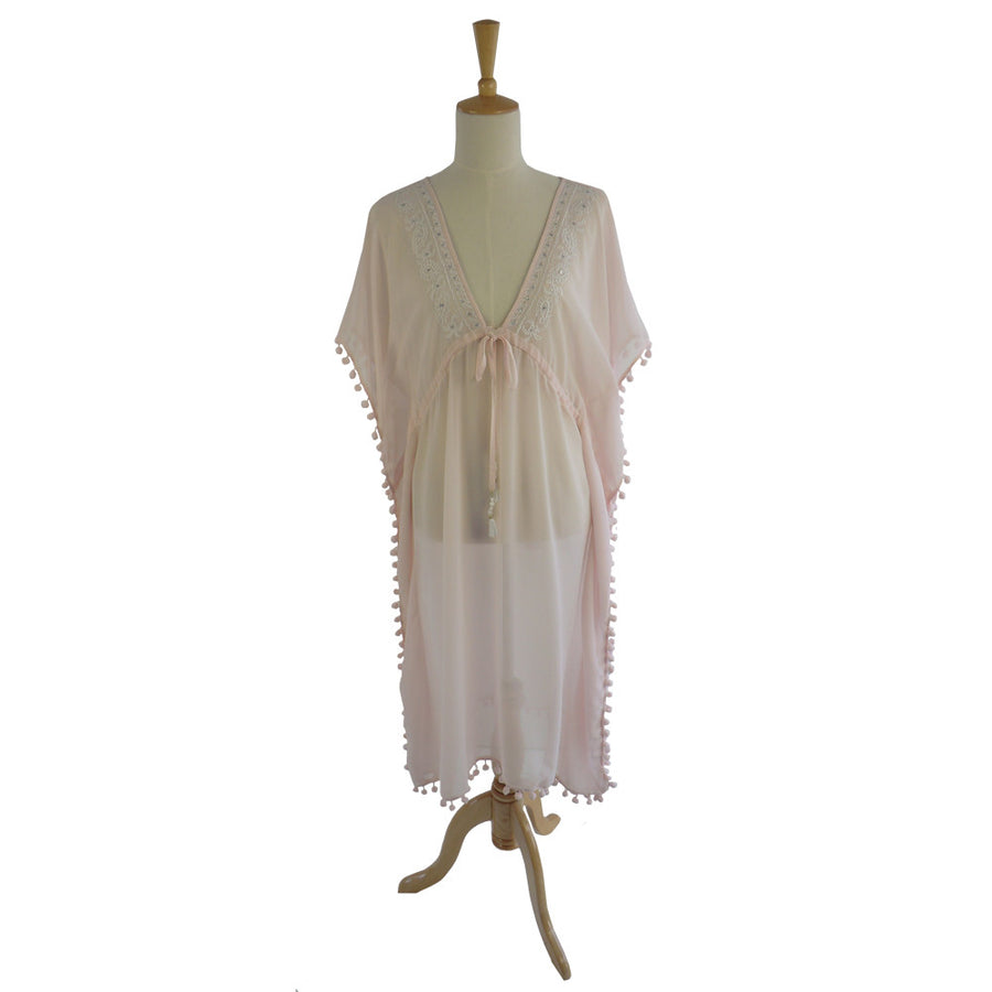 St Tropez Chiffon Pom Pom Coverup - Pink, PC-Powell Craft Uk, Putti Fine Furnishings