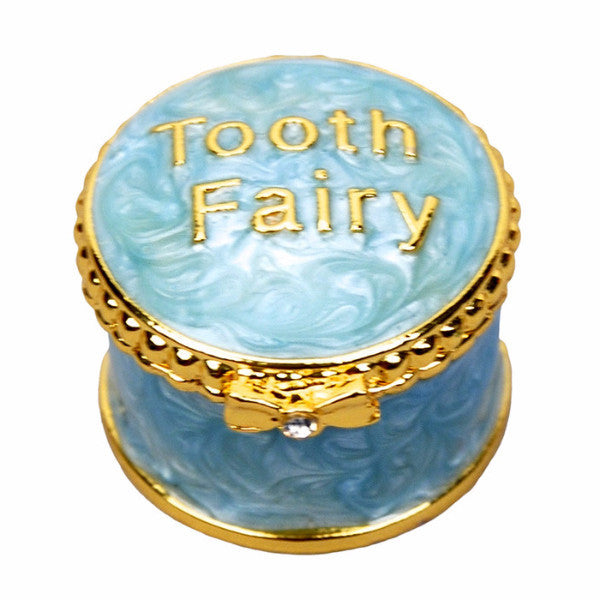Enamelled Tooth Fairy Box - Blue, Empress Arts, Putti Fine Furnishings