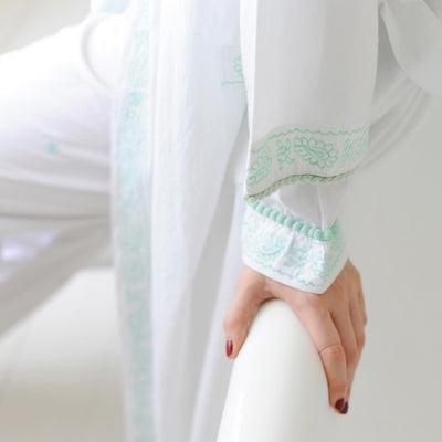 Dressing Gown with Mint Embroidery and Bauble Trim -  Women's Clothing - Powell Craft Uk - Putti Fine Furnishings Toronto Canada - 3