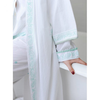 Dressing Gown with Mint Embroidery and Bauble Trim -  Women's Clothing - Powell Craft Uk - Putti Fine Furnishings Toronto Canada - 4