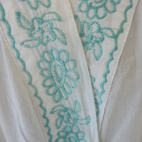 Dressing Gown with Mint Embroidery and Bauble Trim -  Women's Clothing - Powell Craft Uk - Putti Fine Furnishings Toronto Canada - 1