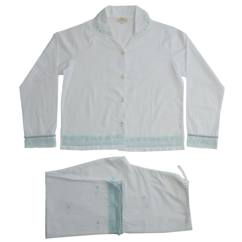 Pyjamas with Mint Embroidery and Bauble Trim -  Women's Clothing - Powell Craft Uk - Putti Fine Furnishings Toronto Canada - 1