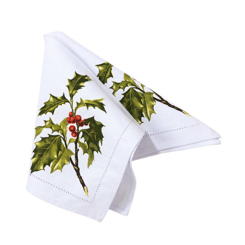 Botanical Christmas Holly Fabric Napkin | Putti Celebrations Canada
