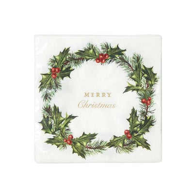 "Botanical Holly ""Merry Christmas"" Lunch Paper Napkin"