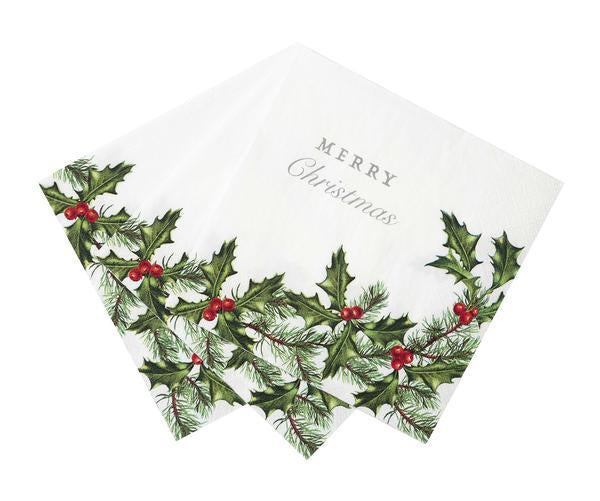 "Botanical ""Merry Christmas"" Lunch Paper Napkin"