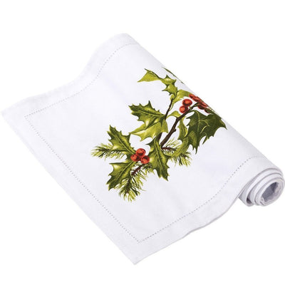 Botanical Christmas Holly Fabric Table Runner | Putti Celebrations Canada
