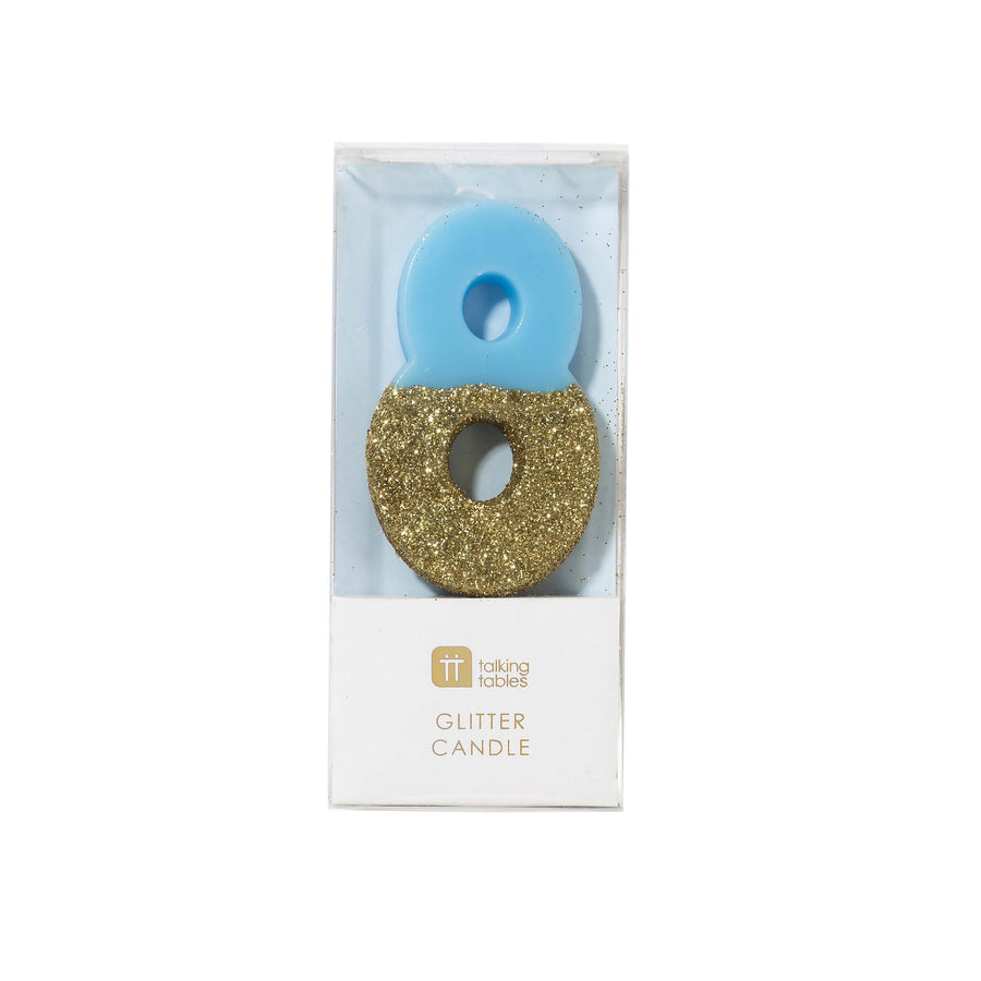 """We Heart Birthdays"" Blue Glitter Number Candle -Eight"
