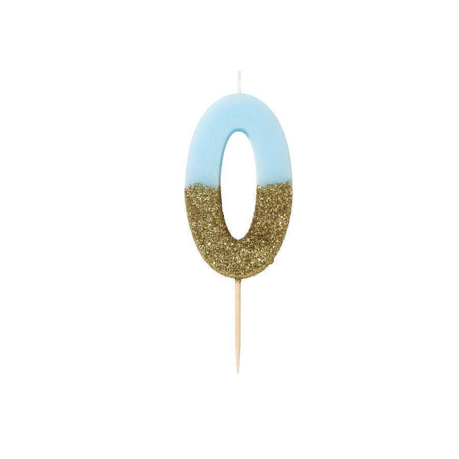 """We Heart Birthdays"" Blue Glitter Number Candle - Zero"