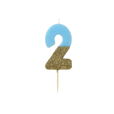 """We Heart Birthdays"" Blue Glitter Number Candle - Two"