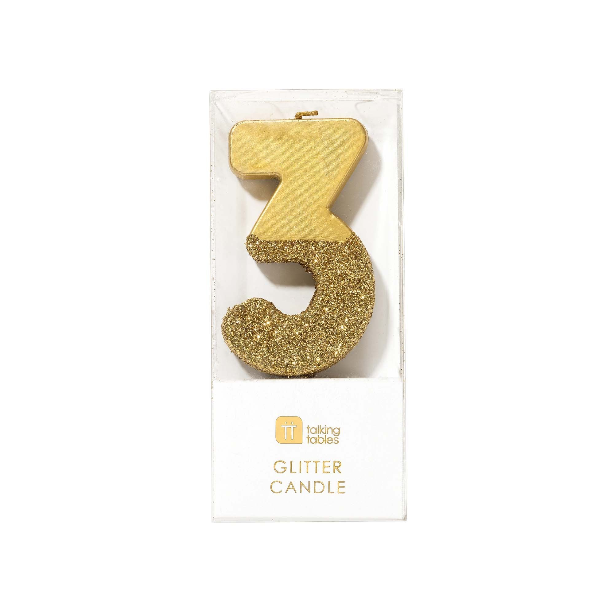 """We Heart Birthdays"" Gold Glitter Number Candle - Three 
