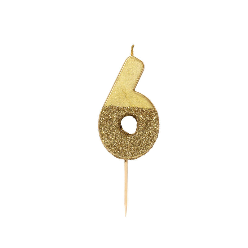 """We Heart Birthdays"" Gold Glitter Number Candle - Six"