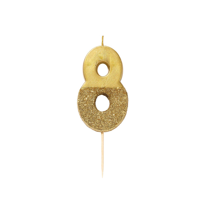 """We Heart Birthdays"" Gold Glitter Number Candle - Eight 
