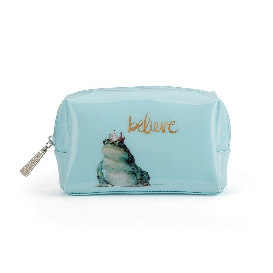 """Believe"" Frog Prince Beauty Bag - Small -  Personal Accessories - Putti Fine Furnishings - Putti Fine Furnishings Toronto Canada"