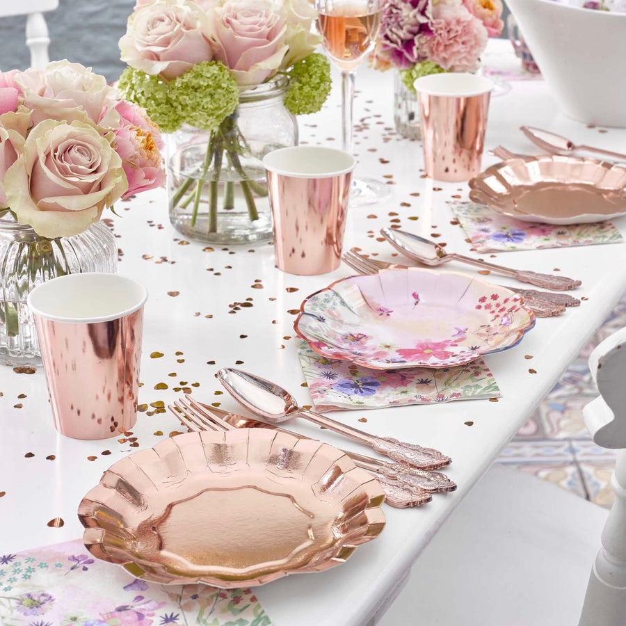 Party Porcelain Rose Gold Metallic Paper Plates