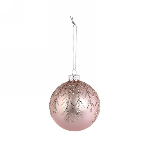 "Matte Pink Glass Christmas 3"" Ball Ornament with Silver Glitter Leaves 
