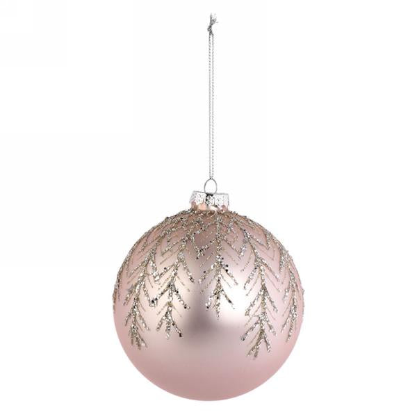 "Matte Pink Glass Christmas 4"" Ball Ornament with Silver Glitter Leaves 