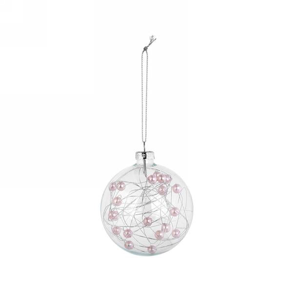 Clear Glass Christmas Ball Ornament with Pink Pearls | Putti Canada