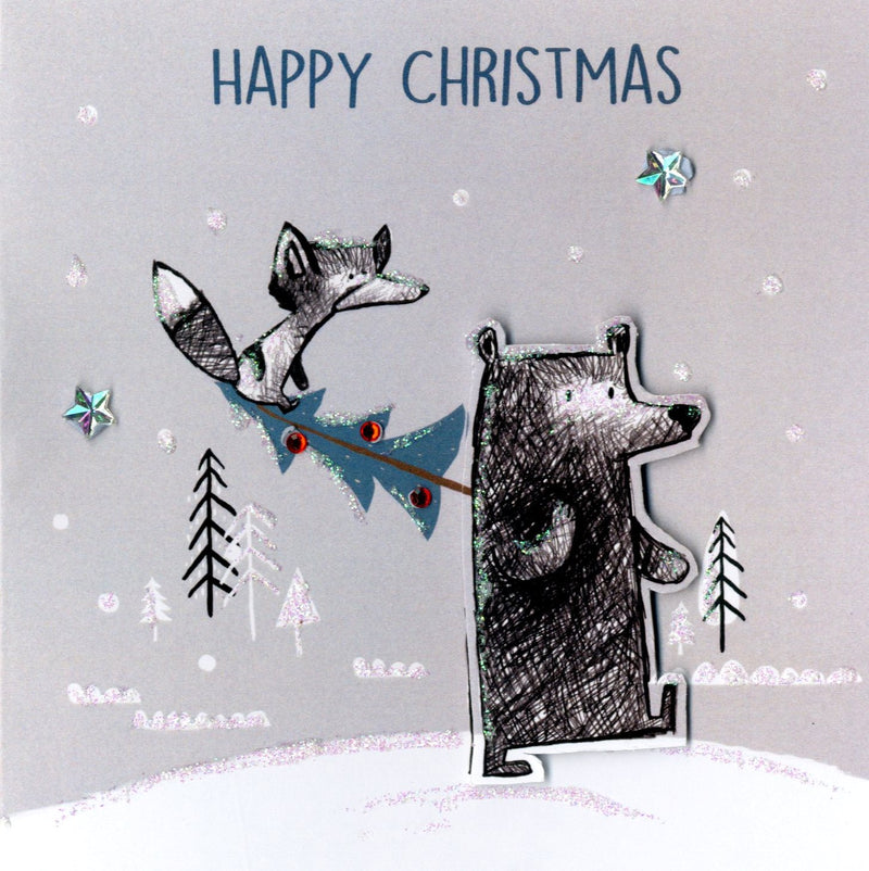 """Merry Christmas"" Bear and Fox Boxed Christmas Greeting Cards  