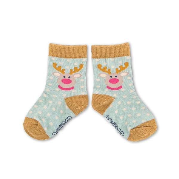 Powder Uk Baby Reindeer Socks - Ice Blue, PDL-Powder Design Limited, Putti Fine Furnishings