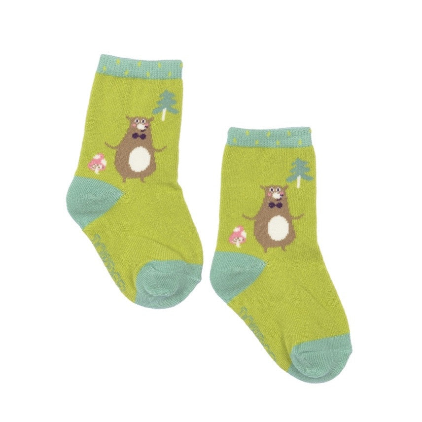 Powder Uk Baby Sock - Happy Bear Lime, PDL-Powder Design Limited, Putti Fine Furnishings