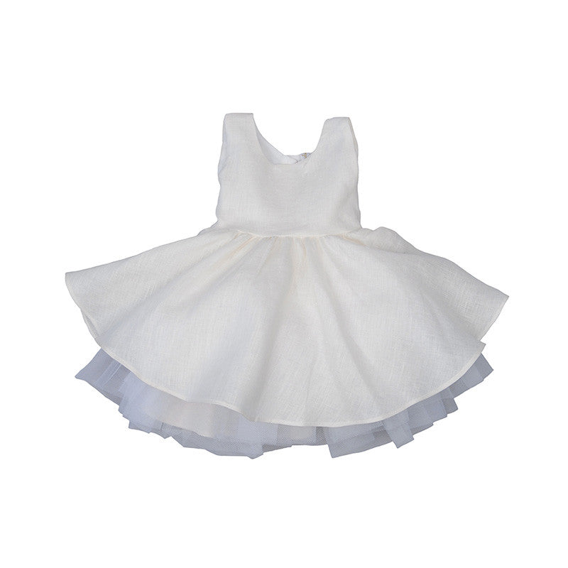 Linen & Tulle Dress - 12-18m (Special Order one week) Dresses - Empress Arts - Putti Fine Furnishings Toronto Canada