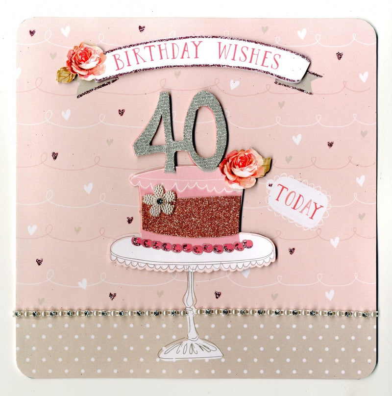 """Birthday Wishes 40 Today"" Greeting Card, ID-Incognito Distribution, Putti Fine Furnishings"