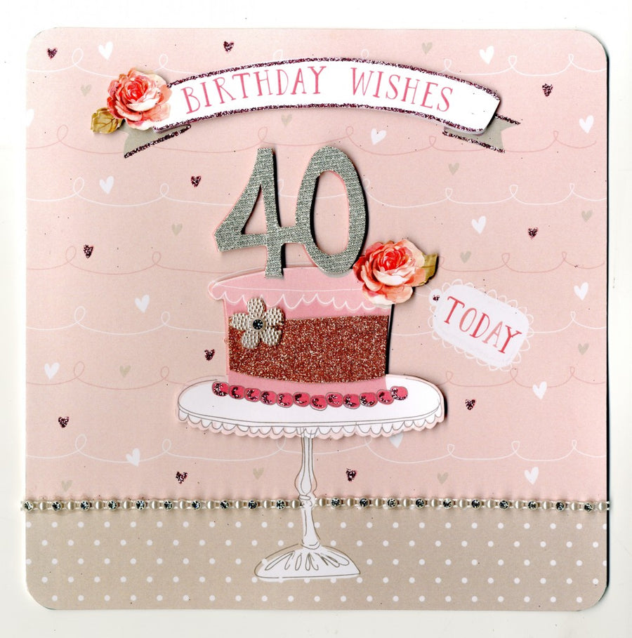 """Birthday Wishes 40 Today"" Greeting Card"