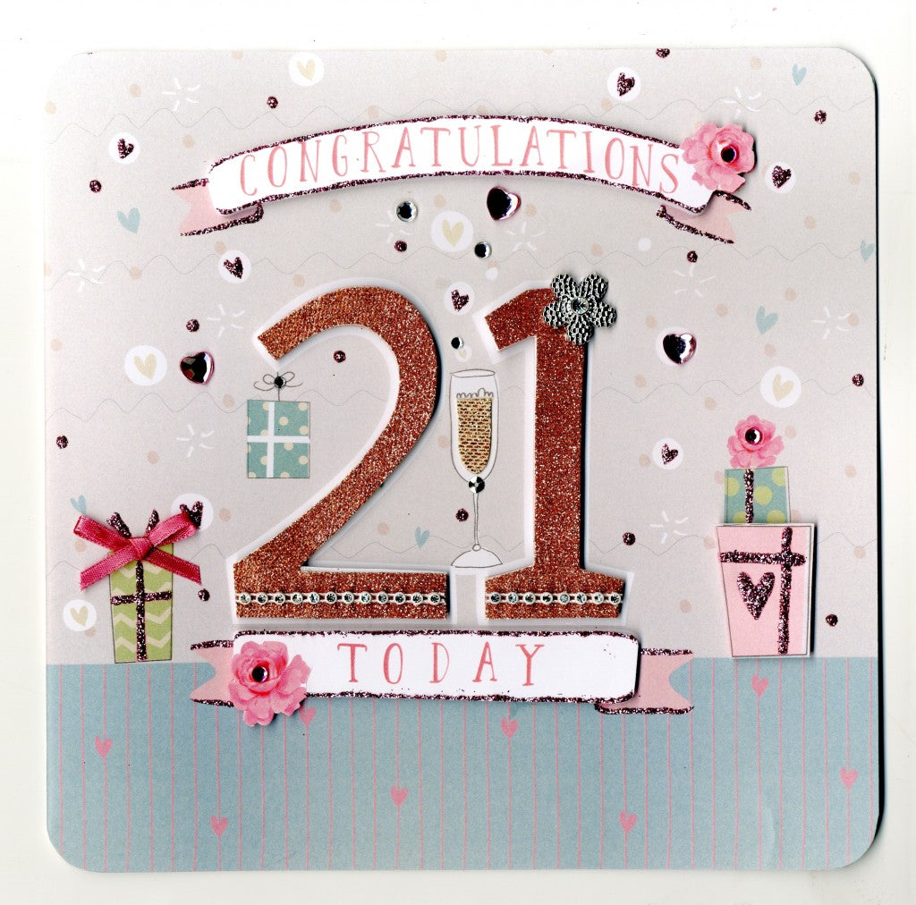 """Congratulations 21 Today"" Greeting Card, ID-Incognito Distribution, Putti Fine Furnishings"