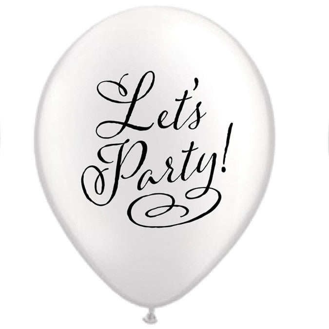 """Let's Party"" Balloon - White"
